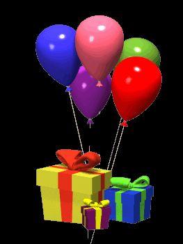 Usa desde tu teléfono móvil el gif animado de Globos de cumpleaños con regalos de Globos de Cumpleaños