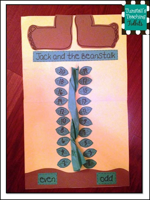 Jack and the Beanstalk math (could also use one side for upper case and the other side for lower case letters)