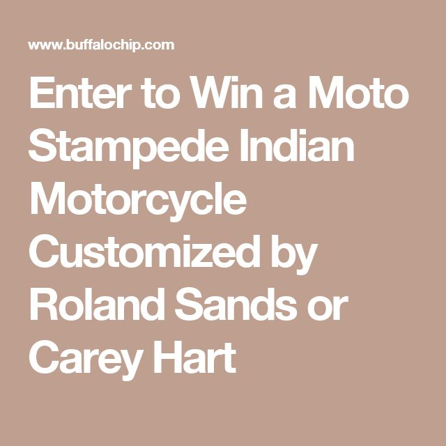 Enter to Win a Moto Stampede Indian Motorcycle Customized by Roland Sands or Carey Hart