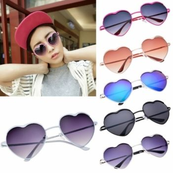 Hot Fashion Cool Unisex Heart Shaped Frame Sunglasses 6 Colors