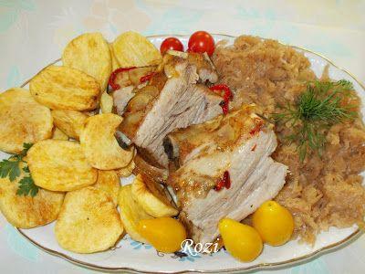 Rozi erdélyi,székely konyhája: Egybensült oldalas, párolt káposztával, pánkó pityókával tálalva