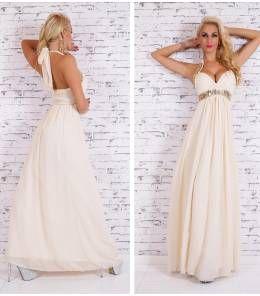 Επίσημο βραδινό μάξι φόρεμα-beige