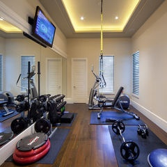 Fitness in the home.  this much space & 1 wall mirror