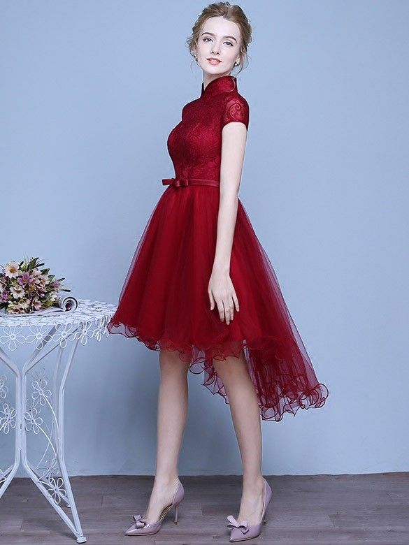 A-Line Asymmetrical Tulle Qipao / Cheongsam Wedding Dress in Lace