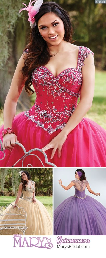 Style 4Q443: Tulle quinceanera ball gown with pleated wrap bodice, sheer upper back, cap sleeves, sweetheart neck line, beaded motifs, beaded basque waist line, and back with zipper closure. From Mary's Quinceanera Fall 2016 Princess Collection