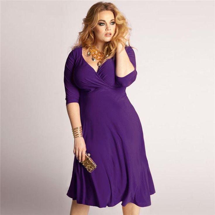 """BignTrendy Series"" VNeck Cotton Blend 3/4 Sleeves Knee Length Dress"