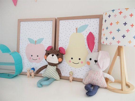 #apple #pear #wall art #prints #print #wall print #kids décor #kids bedroom #art #cute art #wall hanging