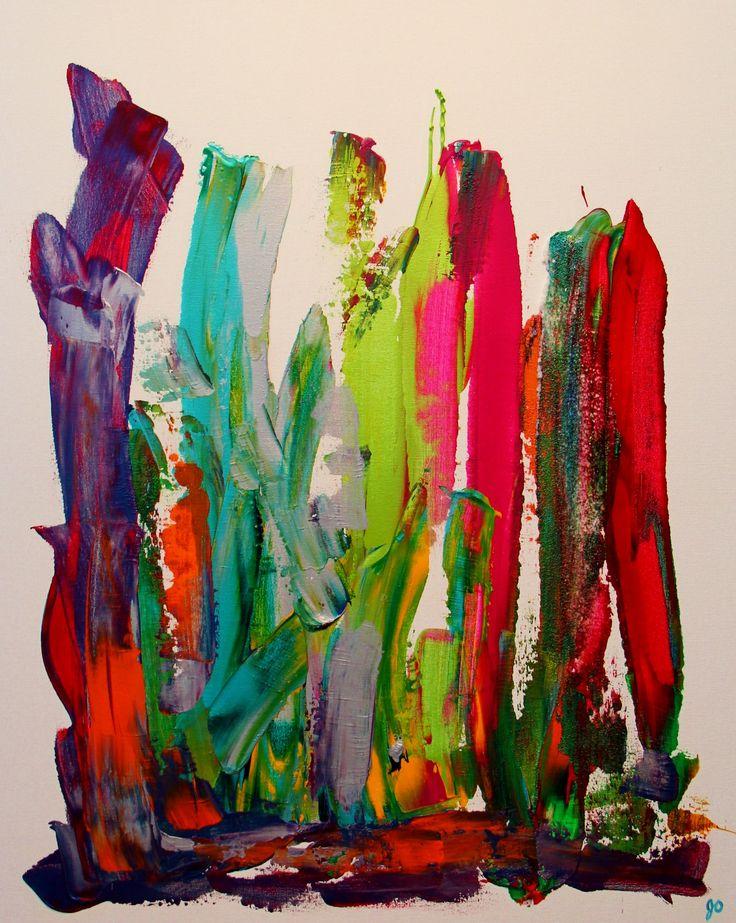 Lilliputien 2. Nous sommes à la fois grand et petit dans cette toile d'une série de trois différentes. Vous vous sentez grand ou petit en la regardant? Du mouvement, de la couleur (aqua, orangé, vert, rouge, bleu, argent, jaune, mauve), de la texture.