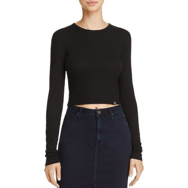 Calvin Klein Jeans Rib Crop Tee (935 MXN) ❤ liked on Polyvore featuring tops, t-shirts, black, cut-out crop tops, calvin klein tops, rib crop top, calvin klein t shirt and calvin klein