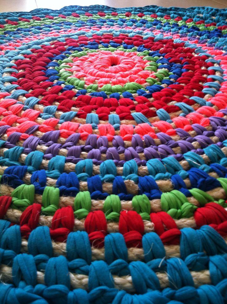 Crochet Rug Fabric And Rope הסורגת עפרה בכר Pinterest