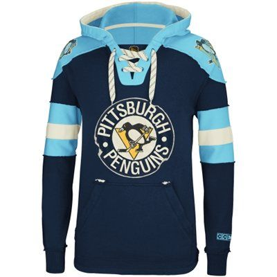 CCM Pittsburgh Penguins Hockey Pullover Hoodie - Navy Blue/Light Blue