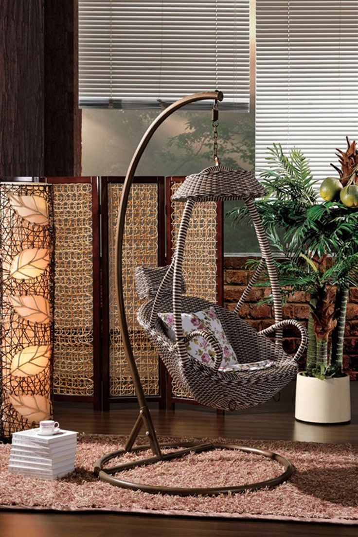 Fashion balcony casual swing hanging chair hanging basket bed rattan rocking chair indoor adult rattan chair 6080 US $378.50