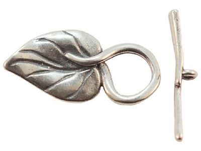 TH13 - 1 Bali .925 Sterling Silver Super Fancy Leaf Toggle Clasp