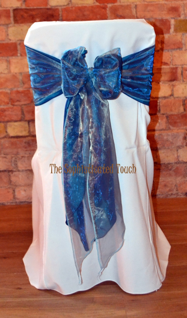 Double Teal Satin and Duck Egg Blue Organza Bow on White Chair Cover