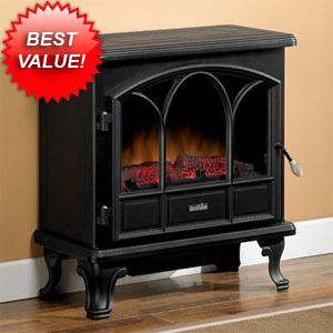 Small electric fireplace stove for small spaces!  Duraflame 750 Black Freestanding Electric Stove with Remote Control - DFS-750-1