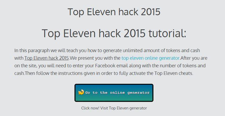 Top Eleven hack 2015 | Online cheats generator