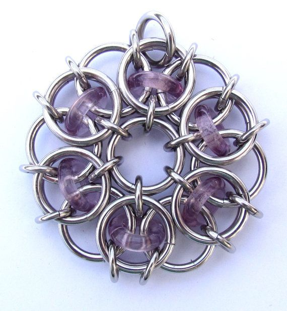 Chain Maille Pendant Light Amethyst Purple Glass by XairianMaille, $35.00