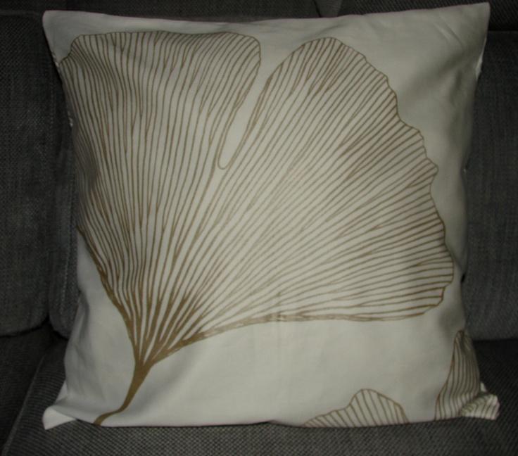 "Gold Ginkgo leaf Satin Pillow case, BIG, 20x20"", 50cm, Finland, white background. $48.00, via Etsy."