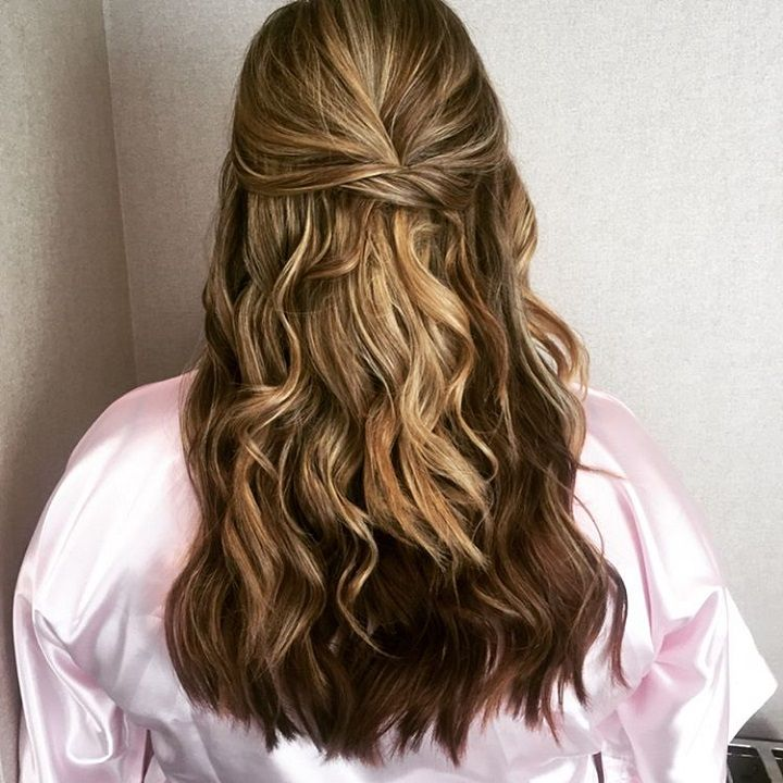 These Prettiest Half Up Half Down Hairstyles to inspire your big day look. wedding hair half up half down + loose curls,Half up half down wedding hairstyle