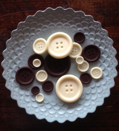 So cool. Make these chocolate buttons with a button mould from Baker and Maker