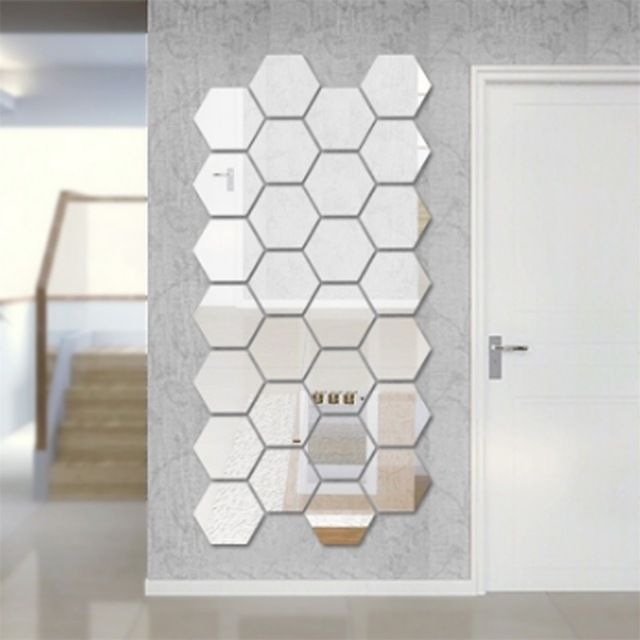 Les 25 meilleures id es de la cat gorie stickers miroir for Decoration murale hexagonale