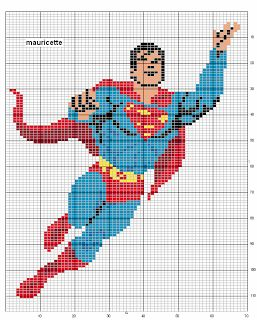 Various Superman & Batman cross stitch charts