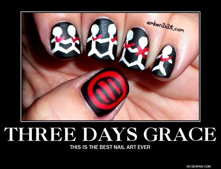 Three Days Grace Nail Art by ~BlackTshirtFan on deviantART