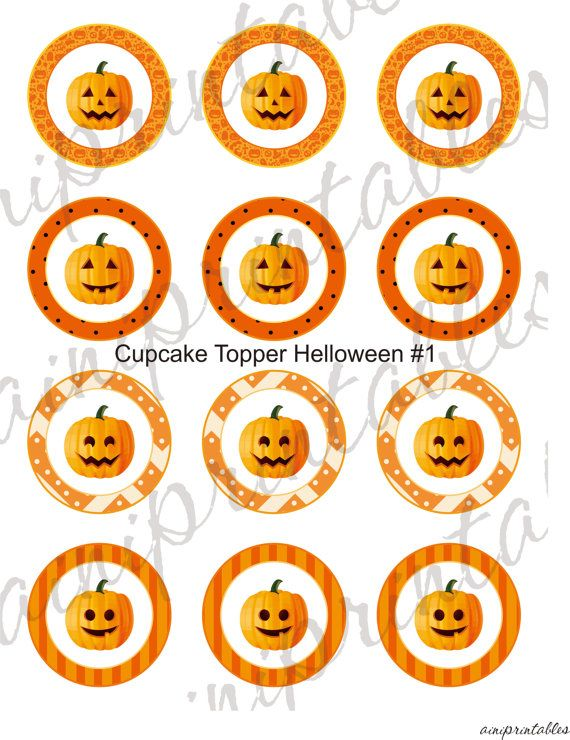 Two Digital Files  Cupcake Topper Halloween by AiniPrintables