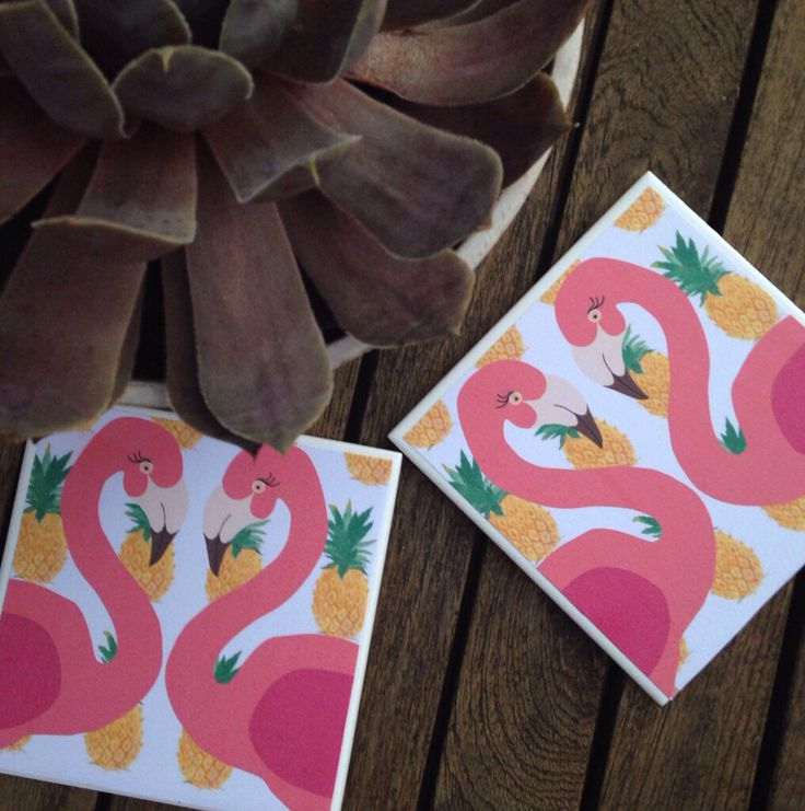 Flamingo pineapple tropical coasters by sadieandmac on Etsy https://www.etsy.com/listing/177856078/flamingo-pineapple-tropical-coasters