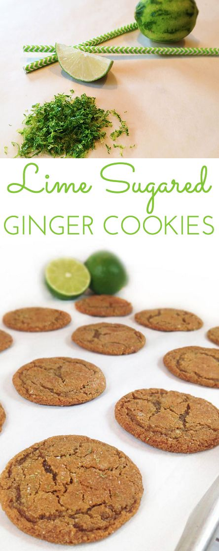 Lime Sugared Chewy Ginger Cookies: the ginger and lime zest give these cookies a tart zing, and the sugar keeps them sweet! These disappear fast!