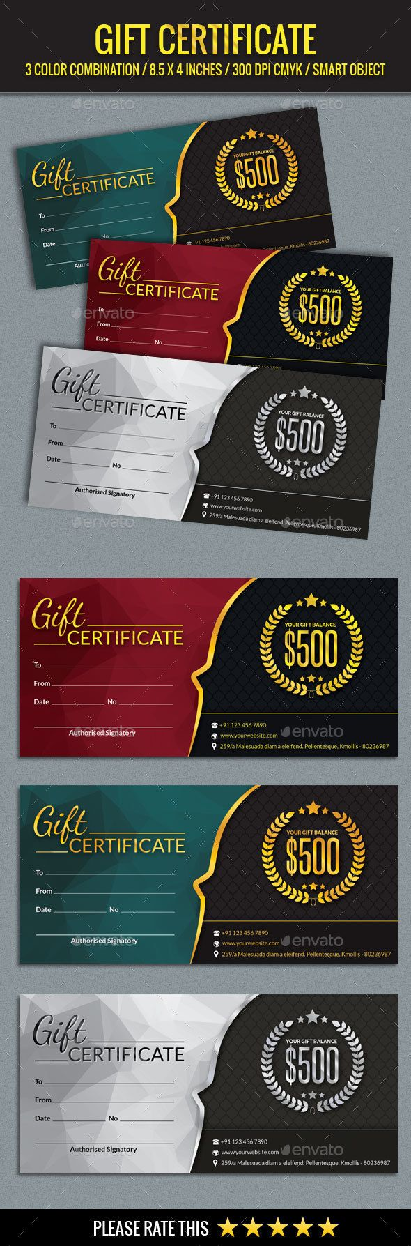 #Gift #Certificate #Template - Certificates #Stationery Download here: https://graphicriver.net/item/gift-certificate-template/14205174?ref=alena994