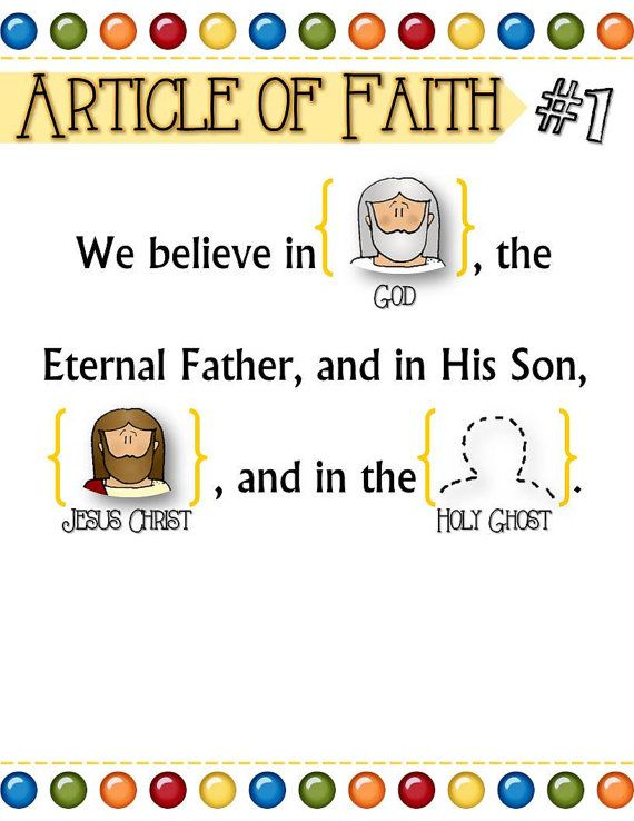 """A fun and simple way to teach toddlers and children the Articles of Faith! Each Article comes with gospel related pictures to help little ones memorize the words and recognize the concept. Each Article of Faith also comes with a """"blank"""" version so the child can recite from memory and place the pictures in the right order. My 3 year old had #1 and #2 memorized within a week! Good luck!"""