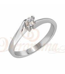 Μονόπετρo δαχτυλίδι Κ18 λευκόχρυσο με διαμάντι κοπής brilliant - MBR_005