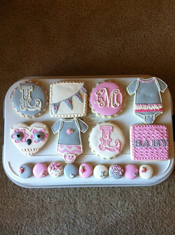 Girly Owl Baby Shower Cookies / One Dozen by ShopCookieCouture, $35.00