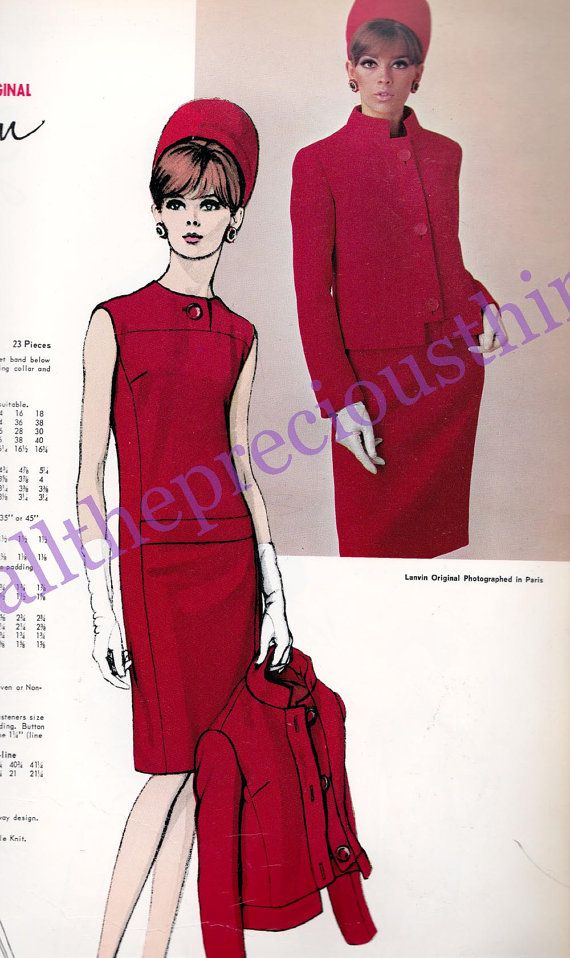 60s LANVIN Mod Evening Dress & Jacket Pattern Vogue Paris Original Pattern 1749  Vintage Paper Pattern Size 12 Bust 32 inches