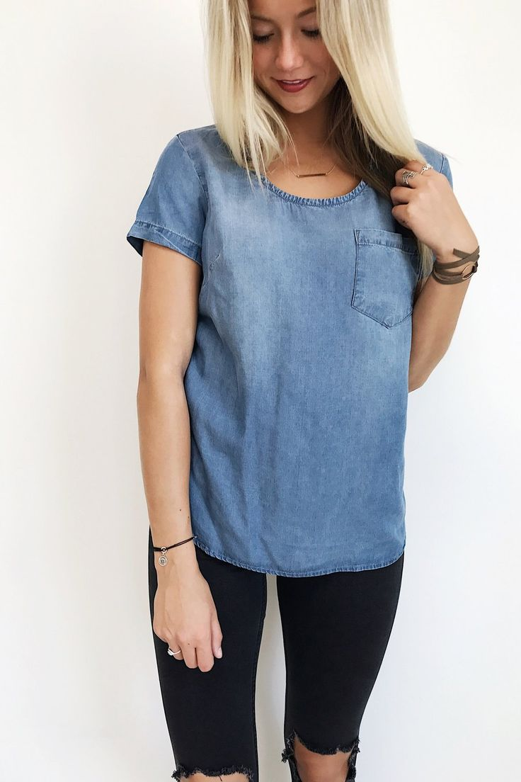 The Filly Tee in Medium Wash