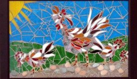 Rule the Roost- hand cut glass mosaic and pebbles