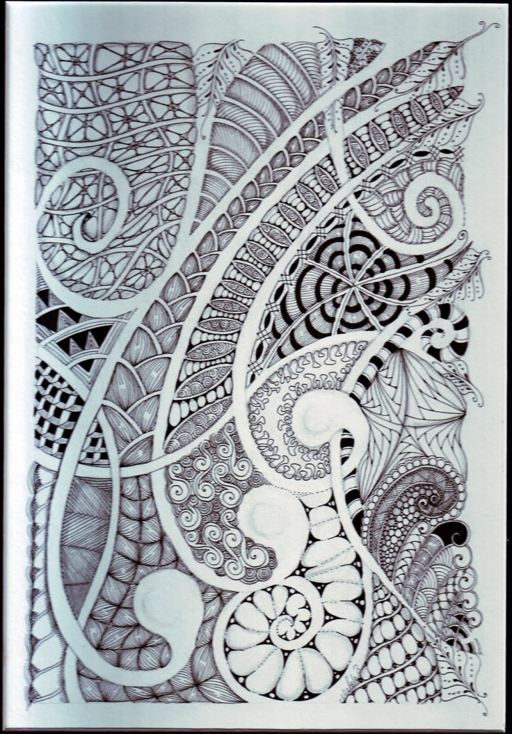 Line Drawing Zentangle : Curvy zentangle draw lines through space quot double them