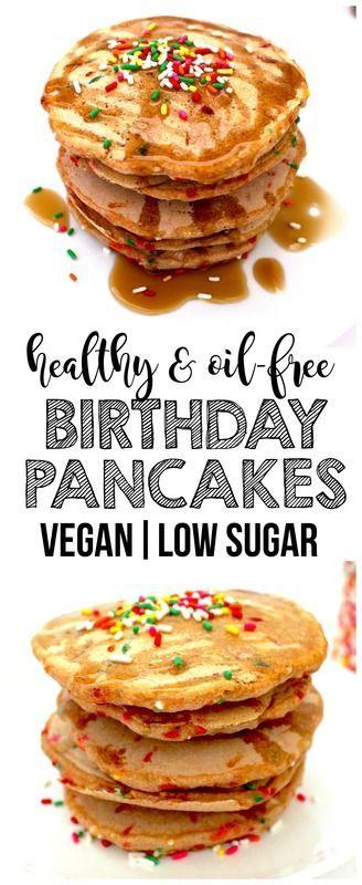 Healthy Vegan Birthday Pancakes (Whole-Wheat, Low-Sugar, Oil-Free, Low-Fat)