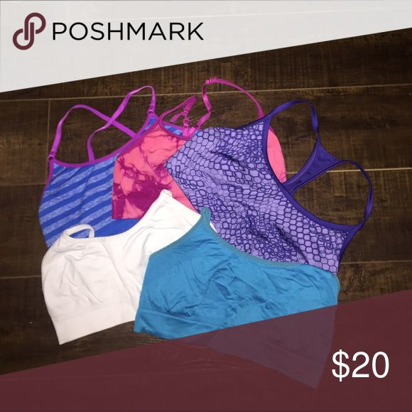 Final sale! 5 Champion sports bras, size small Very gently worn, great condition! Willing to separate if requested! Champion Intimates & Sleepwear Bras