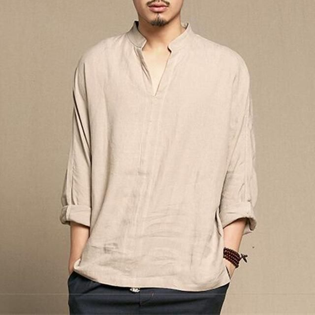 2019 Men Chinese Retro V Neck Long Sleeve Casual Button Loose Tops Blouse Shirts