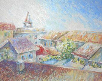 Mañana en la azotea de la ciudad italiana antigua alberga aceite expresiva pintura townscape colorido Italia Siesta arte mejor regalo para su decoración de pared de arte