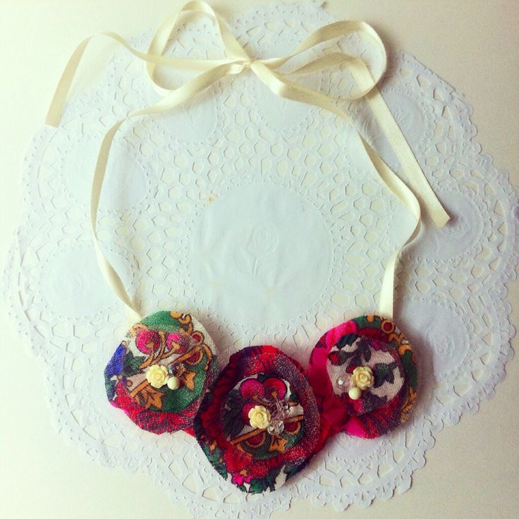 Handmade floral fabrick necklace