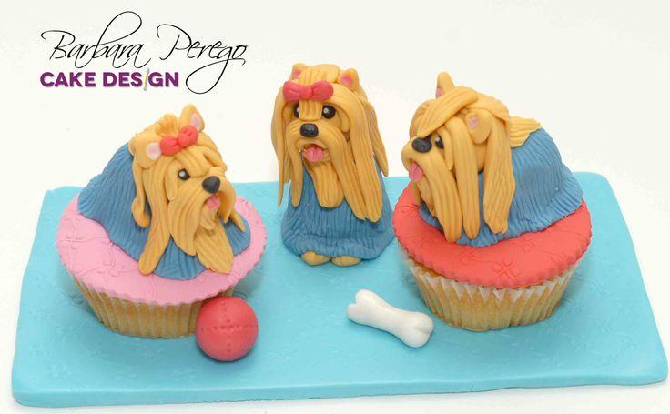 Tre piccoli Yorkshire per cupcake cinofili