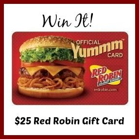 Enter to win a $25 Red Robin Gift Card. The giveaway is open to US residents only and ends May 24, 2015.