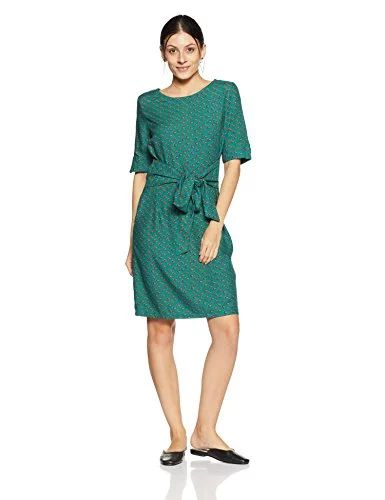 Marks & Spencer Women's Shift Knee-Long Dress (8447K_Emerald_14): Amazon.in