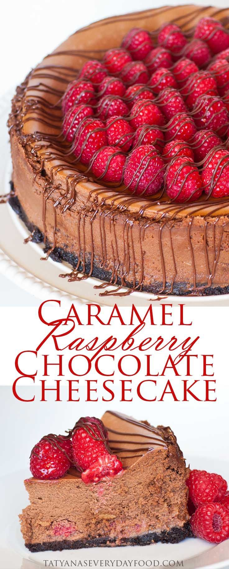 Caramel Raspberry Chocolate Cheesecake with video recipe {Tatyana's Everyday Food}
