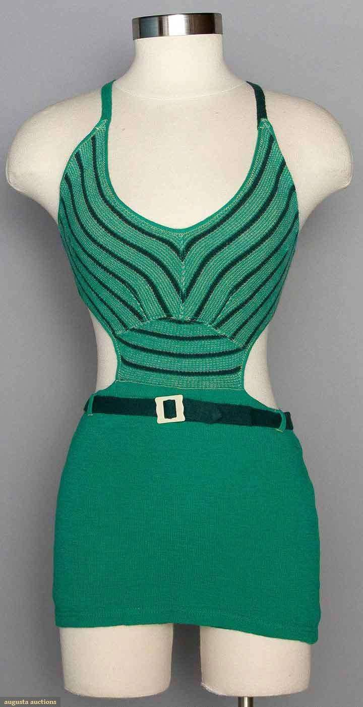 Ladyus green wool swimsuit s augusta auctions november