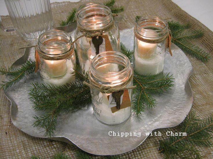 Chipping with Charm: Twine Wreath Ornament...left over jar lid rims repurposed...