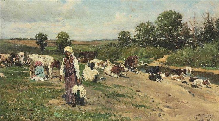 Маковский Владимир Егорович (1846-1920) «На берегу реки» 1895